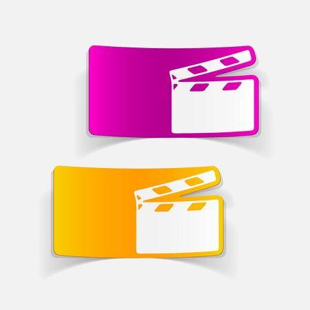 realistic design element: clapper cinema Vector