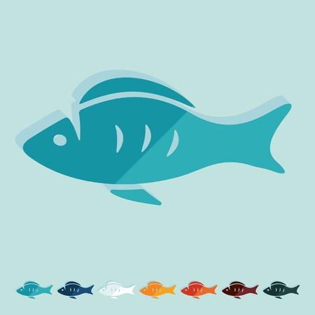 ichthyology: Flat design. fish