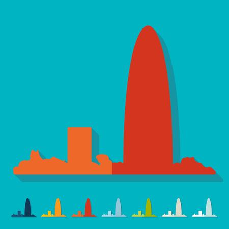barcelona: Flat design. Barcelona skyline
