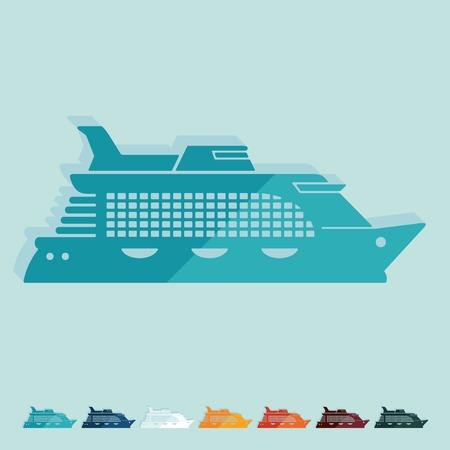 titanic: Flat design. cruise ship Illustration