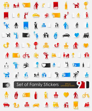 socialization: Set of family stickers