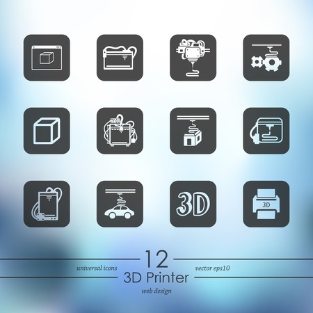 three d: Set of three d printer icons