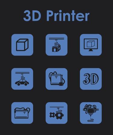 three d: Set di tre d stampanti semplici icone Vettoriali