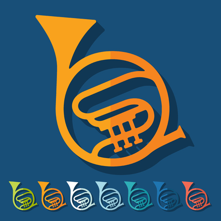 french horn: Flat design: french horn