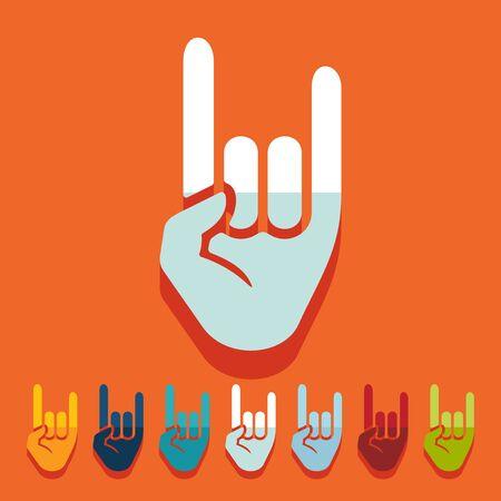rock hand: Design piatto: roccia gesto di mano