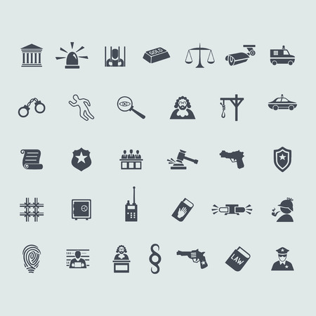 questioning: Set of crime icons