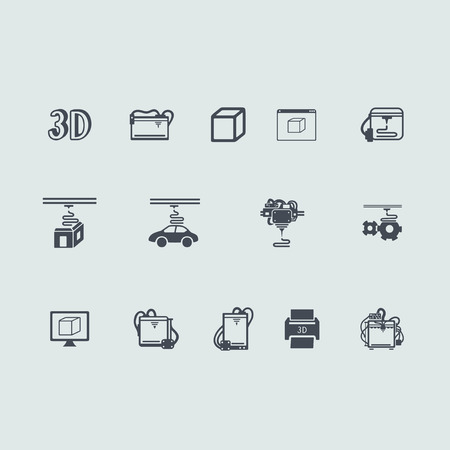 blasting: Set of three d printer icons
