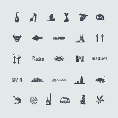 スペインのアイコンのセット  イラスト・ベクター素材