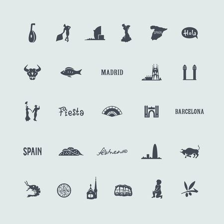 beaches of spain: Set of Spain icons