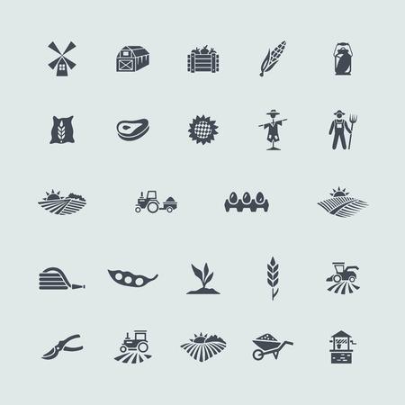 mazorca de maiz: Conjunto de iconos de la agricultura Vectores