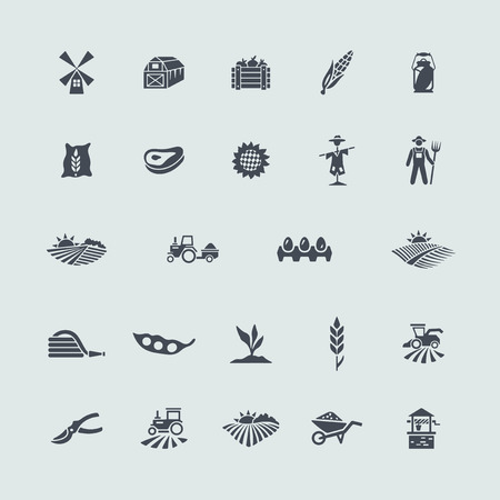 grain field: Set of agriculture icons Illustration