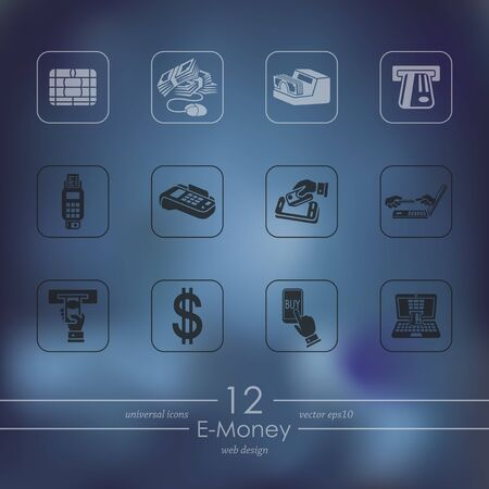 liabilities: Set of e-money icons