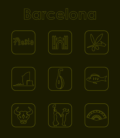 port of spain: Set of Barcelona simple icons Illustration