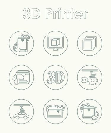 three d: Set of three d printer simple icons
