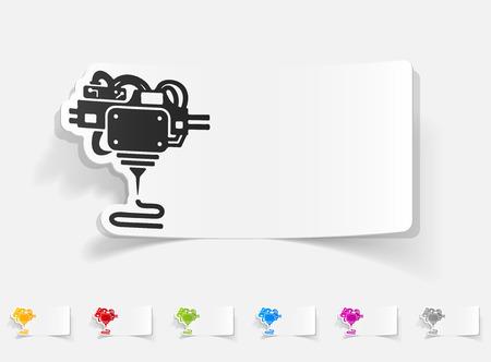 three d: realistico elemento di design. tre d stampante