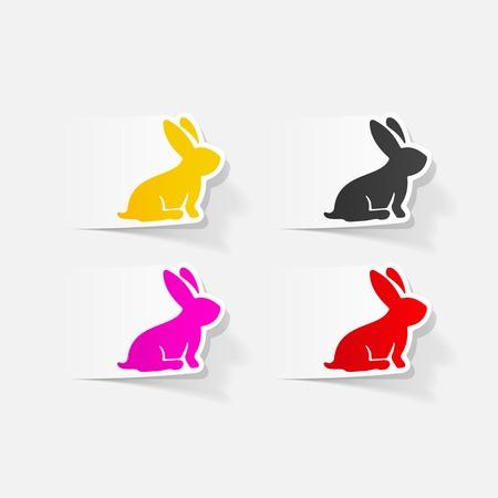 coniglio di pasqua: realistico elemento di design: Coniglio di Pasqua Vettoriali