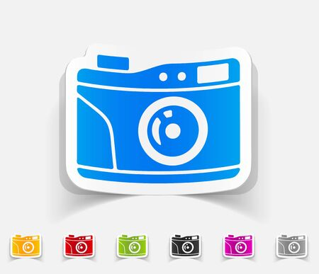 photocamera: realistic design element. old photocamera