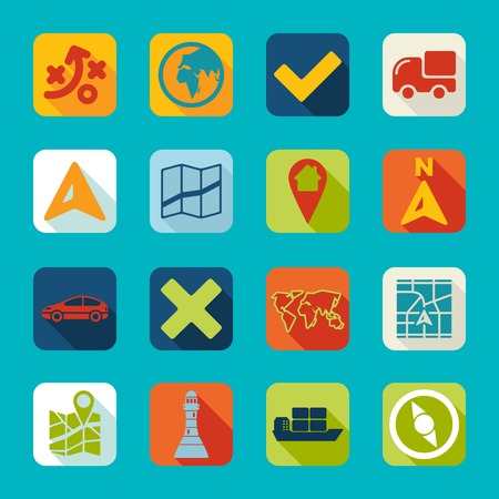 coordinates: Set of navigation icons
