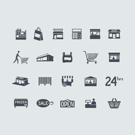 shopping bag icon: Set of store icons Illustration