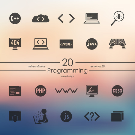 Set of programming icons 向量圖像