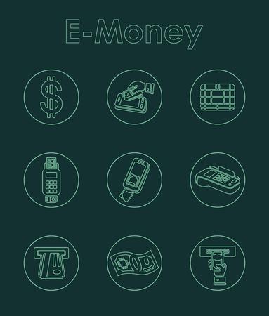 solvency: Set of e-money simple icons Illustration