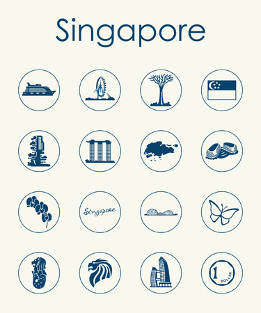 Set of Singapore simple icons Illustration