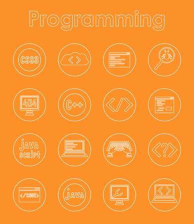 Set of programming simple icons Vector