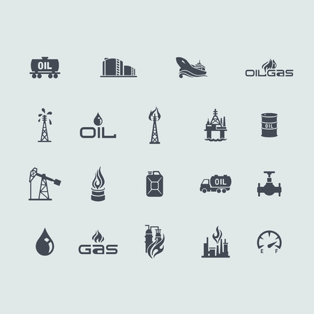Set of oil and gas icons Çizim