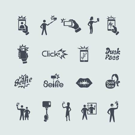 klik: Set van selfie pictogrammen
