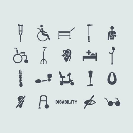 silla de rueda: Conjunto de iconos con discapacidad