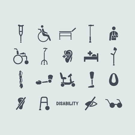 wheelchairs: Set of disabled icons