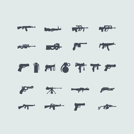 automatic rifle: Set of fire weapon icons