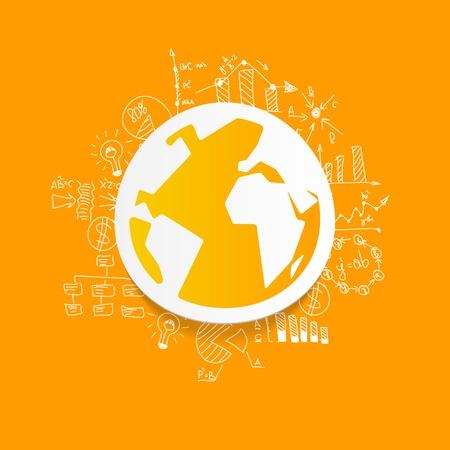 Drawing business formulas: globe Vector