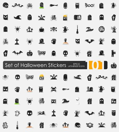 Set of Halloween stickers Vector
