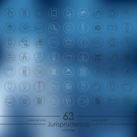 professionalism: Set of jurisprudence icons Illustration