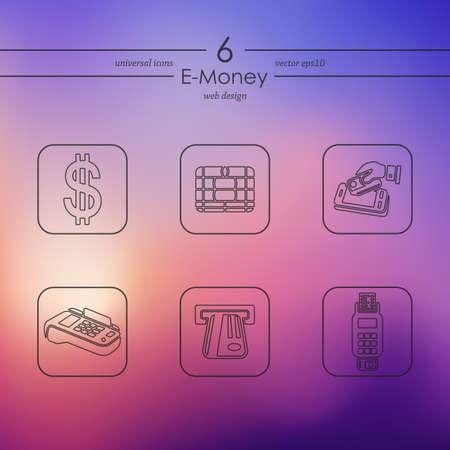 solvency: Set of e-money icons