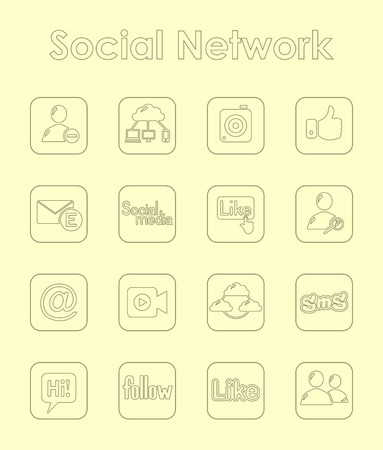 web portal: Set of social network simple icons
