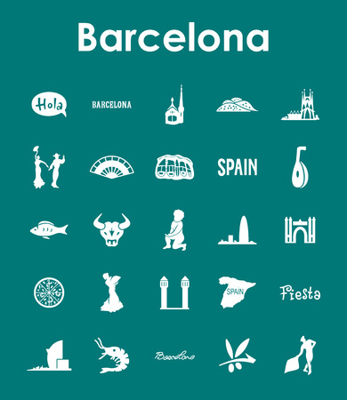 catalonia: Set of Barcelona simple icons Illustration