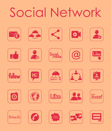 Set of social network simple icons Vector