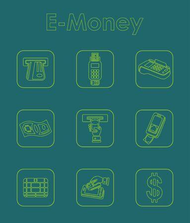 liabilities: Set of e-money simple icons Illustration