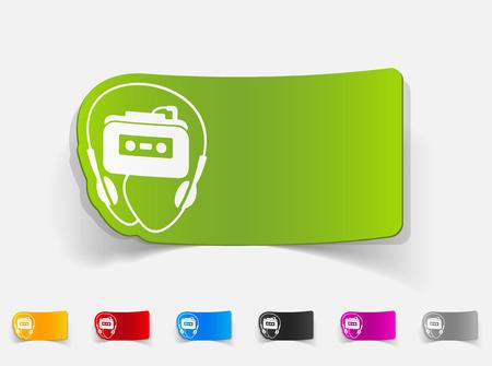 casette: realistic design element. music player