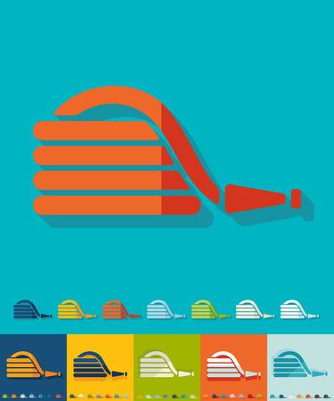 icona di tubo di gomma in design piatto con lunghe ombre