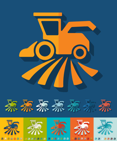 combine-harvester icon in flat design with long shadows