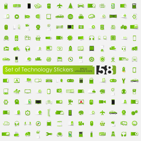 complex system: technology sticker icons with shadow. Paper cut