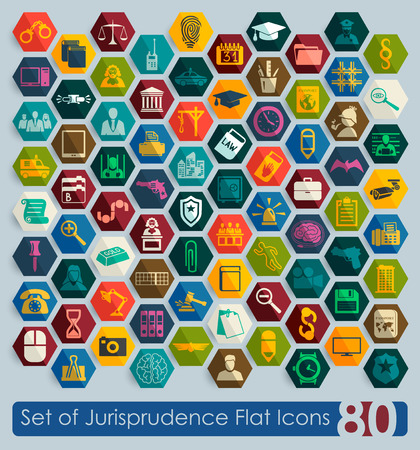 jurisprudence: Set of jurisprudence flat icons for Web and Mobile Applications
