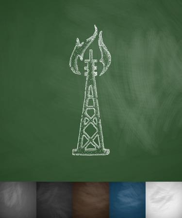 oil derrick: oil derrick icon. Hand drawn illustration on Chalkboard