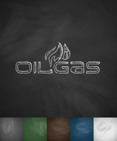 gas icon: OIL GAS icon. Hand drawn illustration on Chalkboard