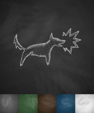 barking: cane icona abbaiare. Disegnata a mano illustrazione sulla lavagna Vettoriali