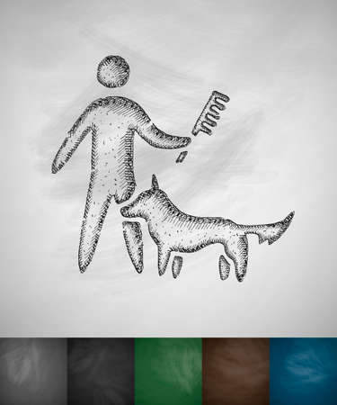 caring: caring for a dog icon. Hand drawn illustration on Chalkboard Illustration