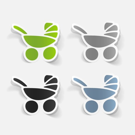 maneuverability: realistic design element of baby buggy Illustration